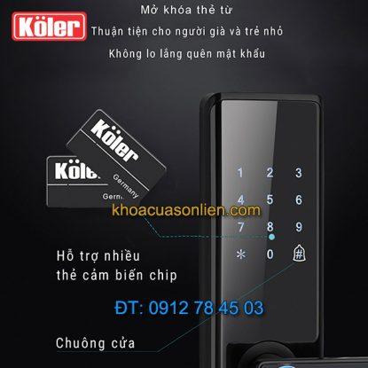 nơi bán Khóa cửa điện tử smart lock vân tay thẻ từ 4 in 1 Koler A1-Black giá rẻ ở Hà Nội