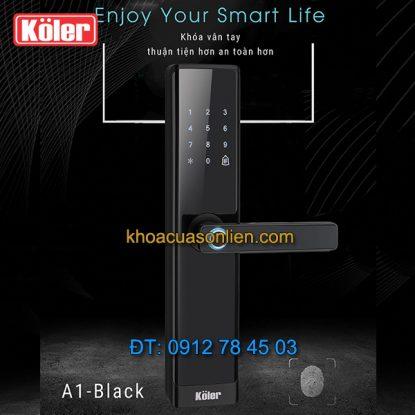 Nơi bán Khóa cửa điện tử smart lock vân tay siêu nhạy 4 in 1 Koler A1-Black giá rẻ tại Hà Nội
