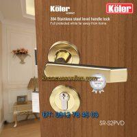 Báo giá Khoá cửa tay gạt inox đúc Koler SR-S2PVD mạ vàng