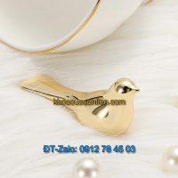 Báo giá nơi bán mẫu Tay nắm tủ decor 3 trong 1 hình chim họa mi mạ crome màu vàng giá rẻ tại Hà Nội