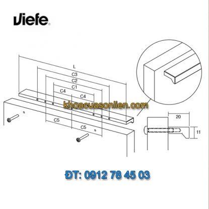 Mẫu tay nắm tủ đơn giản, hiện đại ANGLE 0077 của Viefe-Tây Ban Nha